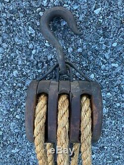 Vintage Rope Hoist, Old Barn Rope Pulley Block And Tackle System