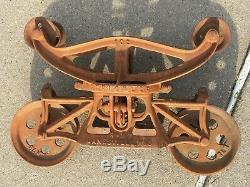 Vintage Strickler Large Cast Iron Swivel Hay Farm Barn Trolley Janesville, WI