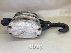 Vintage Triple Wood Block Pulley with Hook Union Hardware Torrington Conn. USA
