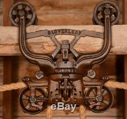 Vintage WOOD BEAM FE Myers Cloverleaf Barn Farm Hay Trolley Carrier Pulley