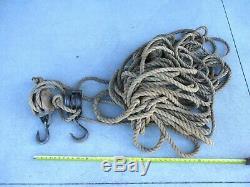 Vintage Wood Double Block & Metal Triple Pulley & Hooks & Lots of Rope STEAMPUNK