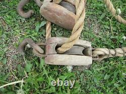 Vintage Wood Double Block Pulley & Hooks & Lots of Rope STEAMPUNK BLOCK TACKLE