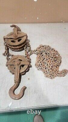 Vintage Yale & Towne Double Pulley + Single Pulley + Chain + Free Shipping