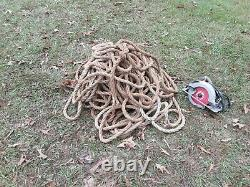 Vintage large 1 inch thick barn nautical rope 282' one piece