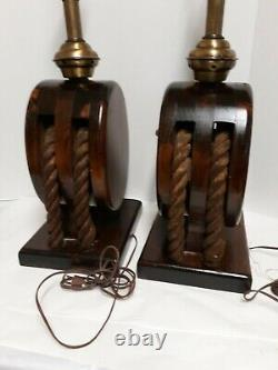 Vintage nautical theme table lamps block & tackle, set of 2