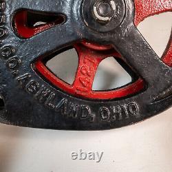 Vtg Antique Old Cast Iron F. E Myers & Bro Hay Trolley Drop Pulley Barn Farm H529