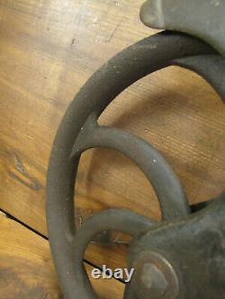 Vtg Cast Iron Well Pulley Antique Farm Wheel Barn Steampunk R. H. &Co. Extra Heavy