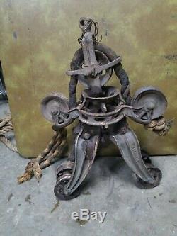Vtg janesville barn cast iron trolley carrier drop pulley steampunk industrial
