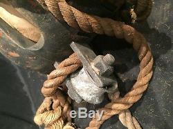 WOOD IRON Block & Tackle VTG ANTIQUE Wheel Ship Pulley Barn Rope Nautical Huge