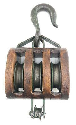 WW1 / WW2 Liberty Ship Block And Tackle Set. Nautical Pulleys Vintage Rare WWII
