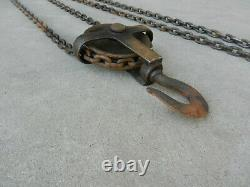 Westons Differential Chain Hoist Dual Block & Tackle Pulley USA Antique 1920s