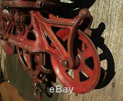 Wonderfully red Hudson cast iron hay trolley carrier unloader