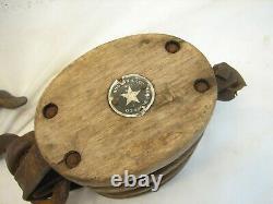 Wood Iron Star Logo Snatch Block Triple Pulley Farm Barn Tool Boston Lockport A