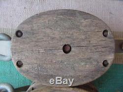 Wood & Metal Triple Roller 3 Pulley Block & Tackle