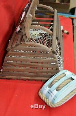 Wooden Lobster Crab Trap Buoy Decor Display Block & Tackle Gift Card Box Pool