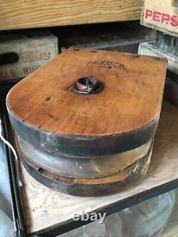 XL 15 Antique Hudson USA Wood Barn Vintage Large Farm Pulley Block Tackle