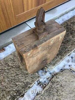 XL 17.5 Antique Jamesway Wood Barn Farm Pulley Block Tackle Sheboygan Wisconsin